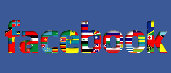 A graphic of the facebook logo featuring flags of the world in the background