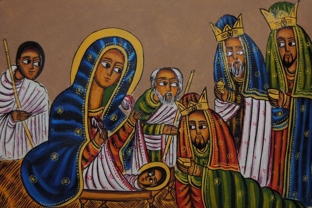 Noël en Éthiopie - Illustration de la nativité de Jésus