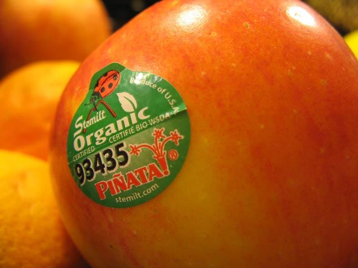 un fruit avec une étiquette de certification biologique