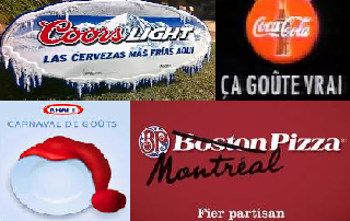 Big brands - Kraft, Boston Pizza, Coors and Coke Coca-Cola advertise in different languages
