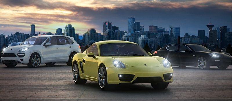 3 Porsches avec la ville de Vancouver an arrière plan