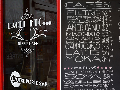 Bagel Etc. and cafe menu Montreal