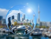 Toronto cityscape reflected in a bubble